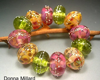 HANDMADE LAMPWORK GLASS Bead Set  Donna Millard Summer Citrus lemon lime orange yellow fruit