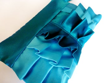 Teal and Turquoise Satin Ruffle Wristlet