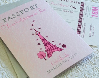 First Birthday Passport to Paris (Birthday Invitation)