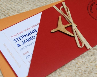 Modern Boarding Pass Wedding Invitation (Costa Rica) - Design Fee