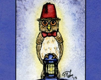 Doctor Whooo - fan art owl signed print - Mary Layton