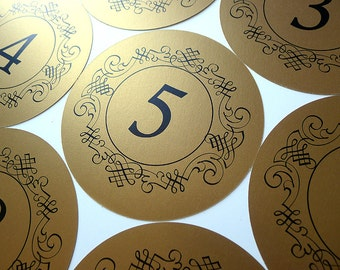 Ornate Frame Round Gold Table Numbers