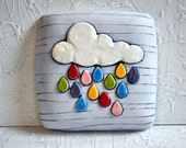 Mde to Order- Raining Colors - White Cloud and Raindrops in Bright Colors- Decorative wall pillow/ wall hanging
