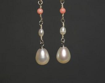 Teardrop Pearl and Coral Earrings
