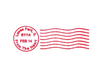 Valentines Day postal Cancellation Postmark for Love Letters and Valentines Rubber Stamp