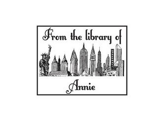 New York skyline from the library of book plate ex libris cutom Rubber Stamp NY