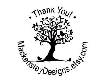 Custom Rubber Stamp Thank you whimsical tree