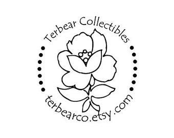 Rose flower custom Rubber Stamp