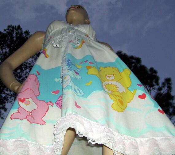 Care Bears Sundress OOAK Upcycled Geek Rainbow Kawaii Dress Carebear Lace Sundress Adult S - XL Beach Cruise Resort Maternity Mom Praty