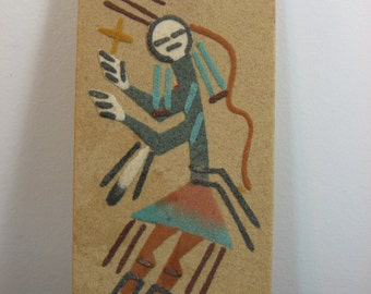 vintage Navajo sand painting tile plaque coaster - figure native american