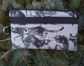 Black cat Cat mini wallet, purse organizer, wristlet, Sebastian Ghastlie, Sweet Pea