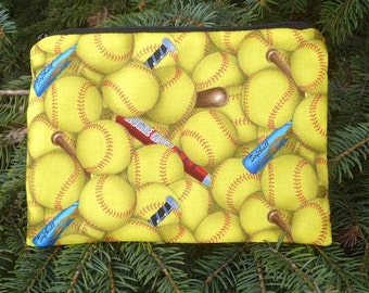 Softball makeup bag, zipper bag, zip pouch, accessory bag, The Scooter