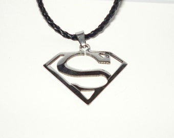 Superman Necklace Black Braided Leather  Cord  Cartoon Movie  Comics  READY TO SHIP