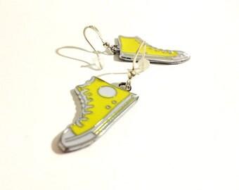 Lemon Yellow Converse  Running Shoe Earrings   Chucks    READY TO SHIP