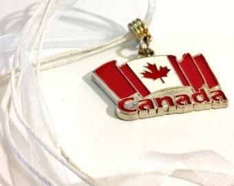 Waving Canada Flag Necklace Canada Day July 1st  Organza Necklace  Canada 150