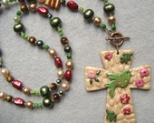 Polymer Clay Bird, Cross Pendant, Freshwater Pearl, Gold Coral Necklace - EASTER SUNRISE