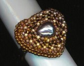 Gray Pearl Ring . Beaded Heart Ring . Earth Tone . Adjustable Ring . Caramel Heart Ring .Gold Valentine - Love Ring by enchantedbeads on Ets