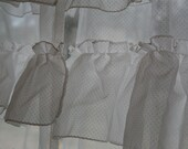 VIntage. white. dotty. layered. ruffled. curtains