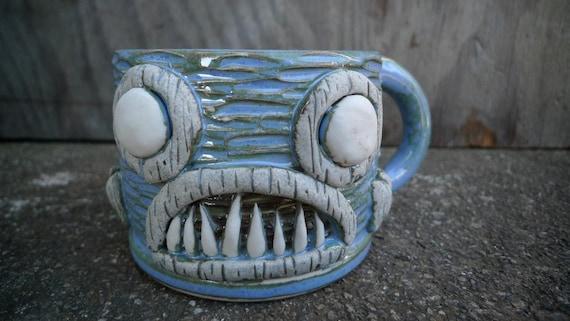 hand thrown, stoneware Piranha Tiki mug