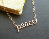 peace necklace - 14K gold fill