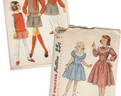 Vintage Sewing Patterns Girls 1940s Dress OR 1960s Skirt and Top Simplicity