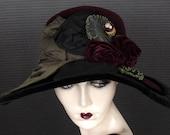 Femme Fatale Langston Bourquin Hat In Plush Burgundy Wine Velour