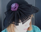 Black Cotton Crochet Casual Flapper Hat On Sale