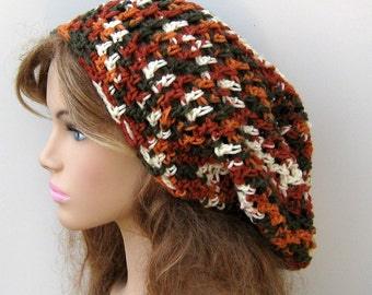 Terra Cotta Slouchy Beanie,  Hippie Dreadlock Dreads Snood Sock Tam Hat, slouchy hat, summer beanie