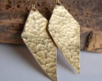 Etsy, Etsy Jewelry, Hammered Earrings, Brass Earrings, Hand Cut Earrings, Kite Shaped Earrings, Metalwork Brass Earrings