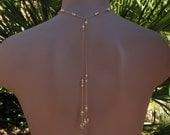 Bridal Lariat Necklace with Swarovski Cream Pearls, Swarovski Crystal Golden Shadow Crystals and Teardrops on Gold Chain, Choker Style