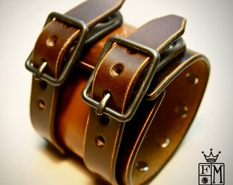 Leather cuff Bracelet studded vintage brown wristband style Made for YOU in NYC by Freddie Matara!