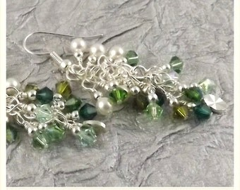 Ireland Bijoux Collection multicolor lush green silver finish Swarovski Crystal cascade french hook earrings