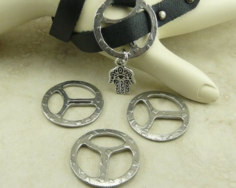 "3 TierraCast Rock & Roll Design Tribuckle for 1/2"" Leather Clasps Antique Pewter Finish Plated Lead Free Pewter I ship Internationally 6181"
