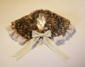 FAWN FUR and LACE Velvet Bow Collar