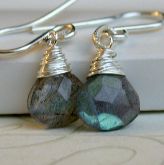 Labradorite Drop Earrings. Blue Flash Labradorite Dangle Earrings. Simple Labradorite Earrings. Artisan. Jewelry.