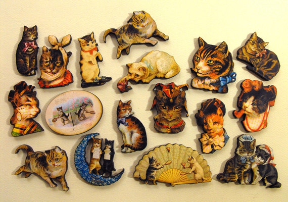 Wood Kitty Cats - Collection of 17 Wood Laser Cut Pieces