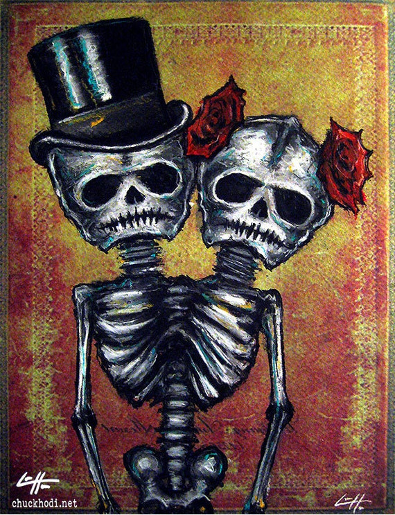 Print 8x10 Day Of The Dead Couple Roses Senorita Top