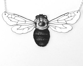 Bumblebee insect and silver chain necklace