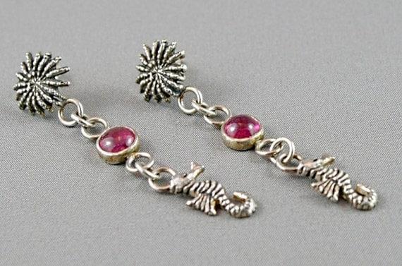 Pink tourmaline earrings with seahorses. Long dangle earrings. Silver stud earrings