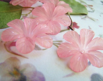 Clematis Flower Blossoms Pink 33mm Lucite (8flowers)b2207