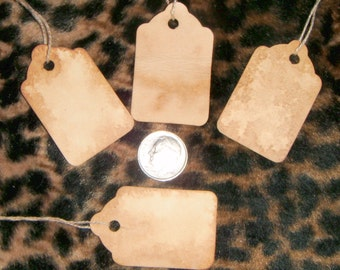 200**** xtra small blank Tags,Primitive,Rustic,Vintage Style,Stained,Coffee with string and shipping included