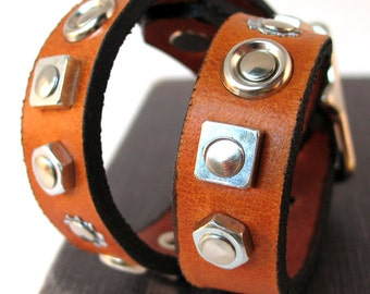 Silver Geometric Shapes on Honey Brown Leather Dog Collar, Size S, Small Dog, to fit a 10-13 Neck, Eco-Friendly, OOAK