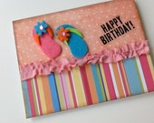 Colorful Summer Birthday Card in Rainbow of Colors with Flip Flops