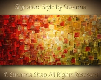Abstract Painting - Thick Texture Original Painting Olive Green Red Ready to Hang 48x24 by Susanna Made2Order