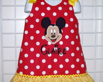 Mickey Mouse Face Applique Monogram Dress with Yellow Dot Ruffle - Mickey birthday party dress - toddler girl dress- ruffle dress