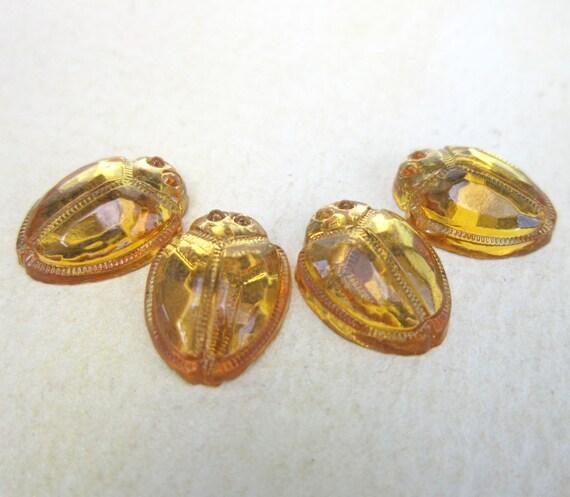 Vintage Glass Scarab Cabochons 4