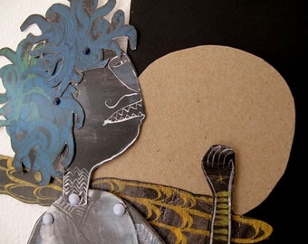 Medusa Articulated Constructed Paper Doll DIY Write Your Own Message / Hinged Beasts Series