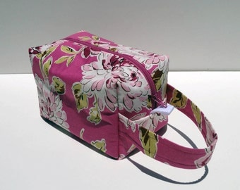 HOLIDAY SALE - Pink Mums Zipper Box Knitting Project Bag