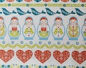 Matryoshka doll and cute design - Japanese fabric - blue