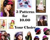 Not 5 but 6 Crochet Patterns-Hat or Scarf Patterns - You choose - 1.67 a Pattern - Baby Crochet Patterns  Ebooks not included